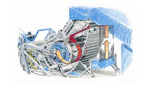 Quand la pression de la chambre de compression est atteinte, un filet est introduit dans la chambre de compression au moyen de buses d'air.