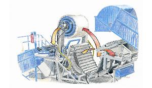 Lorsque le nombre de tour de filet est atteint, la chambre de compression s'ouvre et les deux flasques latérales sont pressées contre les faces parallèles de la balle afin de la tenir fermement pendant le transfert vers la table d'enrubannage.