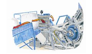 Une fois l'enrubannage terminé, la balle bascule sur un convoyeur à chaîne afin d'être repris par un engin équipé d'une pince à balles vers son lieu de stockage.